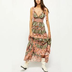 Free People Let's Smoke About it Maxi Dress Clay